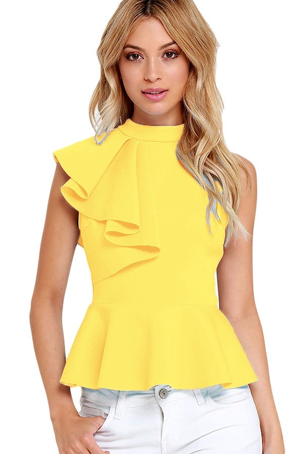 Yellow-Asymmetric-Ruffle-Side-Peplum-Top-LC25845-7-1