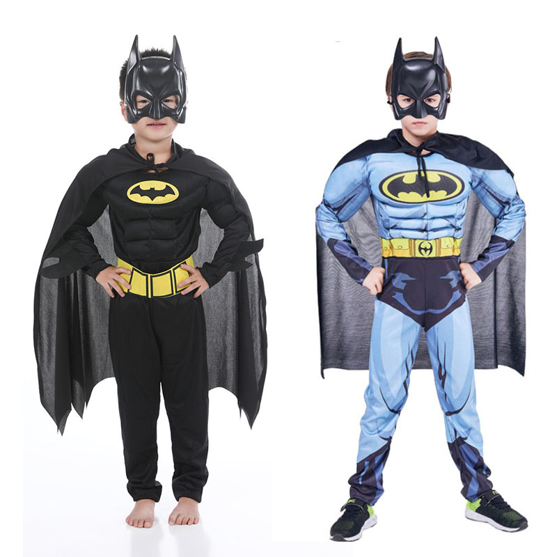 Kids Boys Muscle Batman Jumpsuit With Mask Cloak Movie Superhero Cosplay Halloween Masquerade Evening Batman Role Play