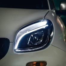 car styling For BENZ smart headlights angel eyes 2015-2018 For BENZ smart LED light bar Q5 bi xenon lens LED Bulb projector стоимость