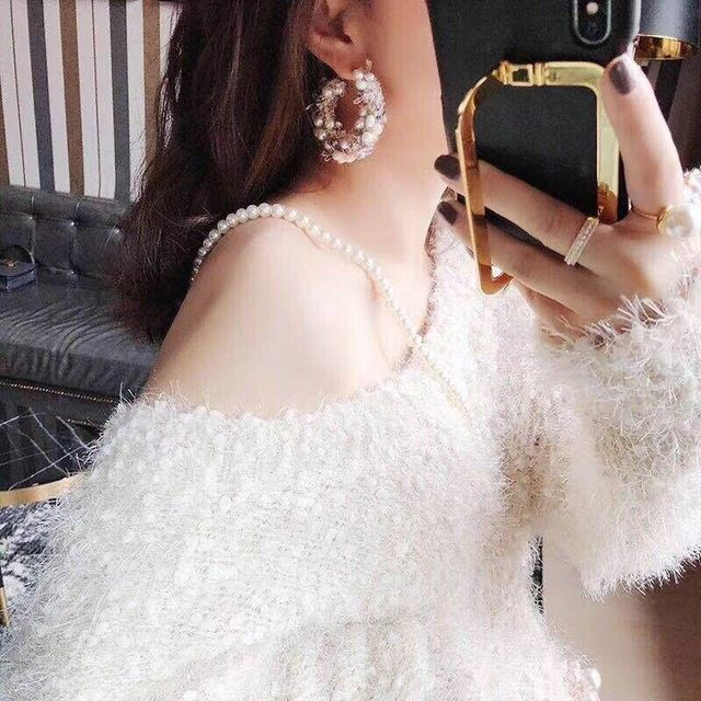 Handmade Simulated Pearl Lace Wreath Big Circle Earrings