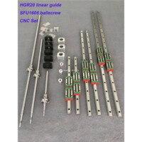 Ru entrega ballscrew hb 20 trilho de guia linear quadrado 6 conjunto hb20 400/700/1000mm + sfu1605 400/700/1000mm + bk/bf12 peça cnc|Guias lineares| |  -