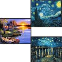 Hause Dekoration DIY 5D voller Diamanten Stickerei Van Gogh Starry Night Kreuz Stich kits Abstrakte Öl Malerei Harz Handwerk