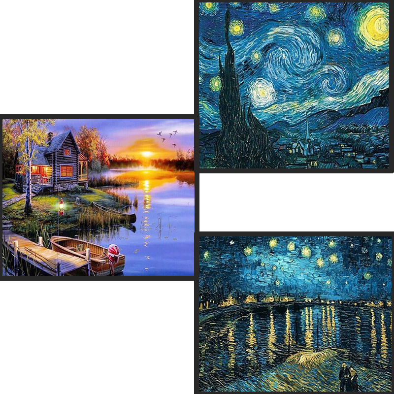 Hause Dekoration DIY <font><b>5D</b></font> voller Diamanten Stickerei Van Gogh Starry Night Kreuz Stich kits Abstrakte Öl Malerei Harz Handwerk image