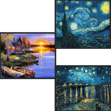 DIY decoración del hogar 5D bordado completo de diamantes Van Gogh noche estrellada punto de cruz kits pintura al óleo abstracta artesanía de resina