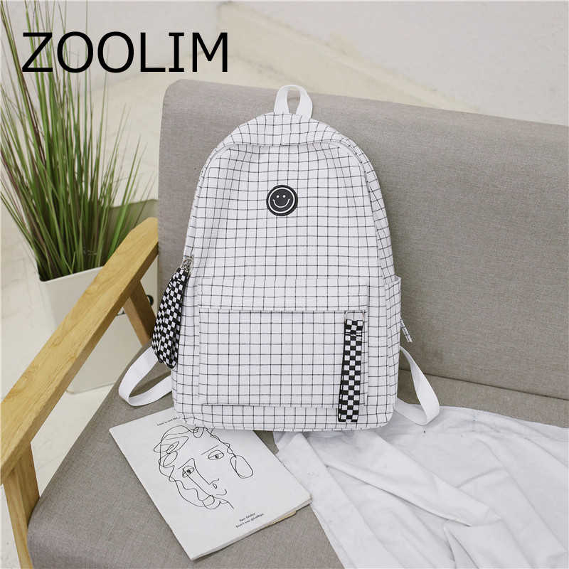 XIDIONE Harajuku Brief Grid Backpack White Black Women Travel Ribbon Smile Backpack Students Canvas Double Shoulder Bag Mochila