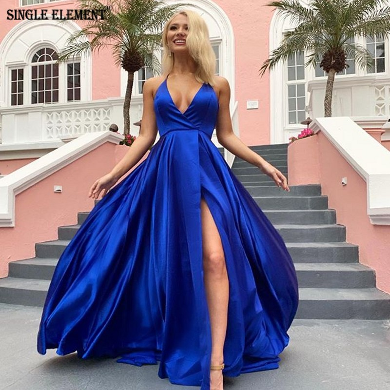 SINGLE ELEMENT A Line Slit Sexy Satin   Prom     Dress   Discount Sale Evening Gown
