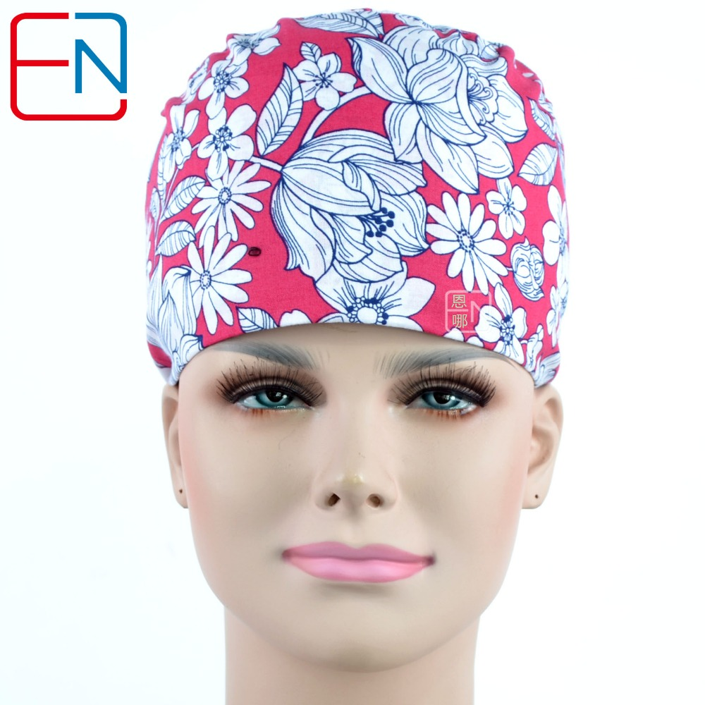 NEW Hennar Surgical Scrub Cap  For Women Doctors And Nurses Caps Printing 100% Cotton