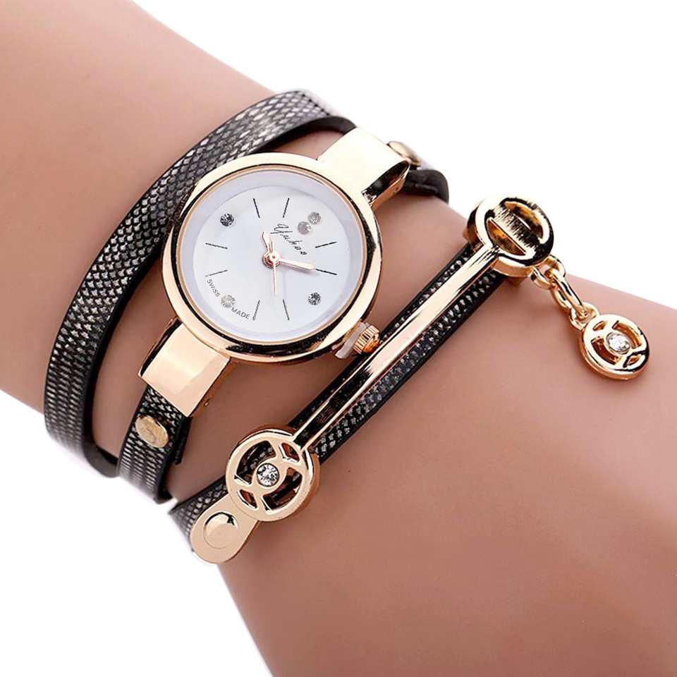 Nova Duoya Moda Mulheres Pulseira de Relógio de Ouro As Mulheres Se Vestem Pulseira de Couro Casual Relógios de Quartzo Relógio de Presente relógio de Pulso