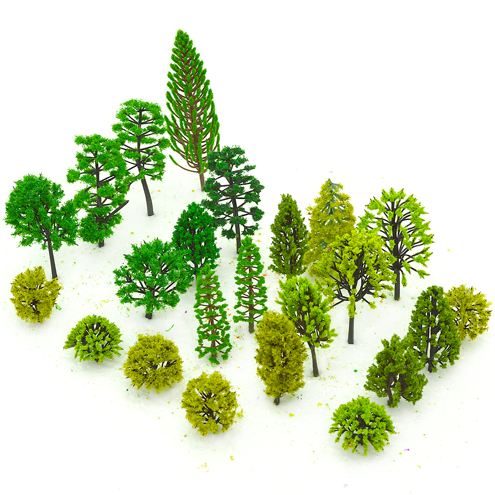 HO N OO Architectural scale model ABS plastic Green Trees 3 12CM model train landscape tree layout in Model Building Kits from Toys Hobbies