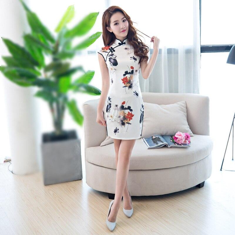 Chinese Traditional Mini Cheongsam Women Silk Satin Short Dress Dance Party Costume
