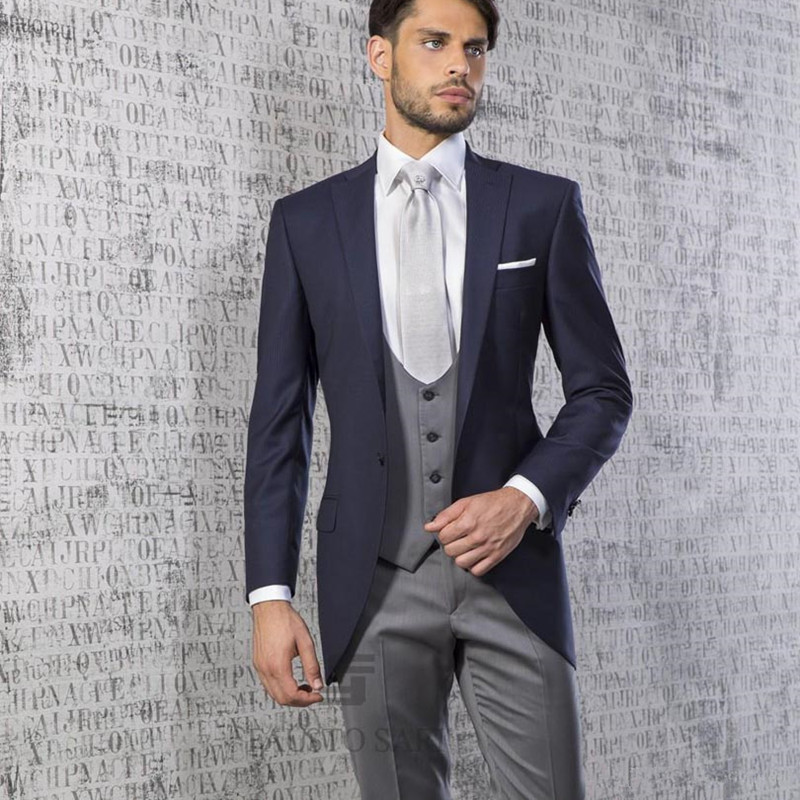 2019 Fashion Navy Blue Wedding Suits For Men Notched Lapel