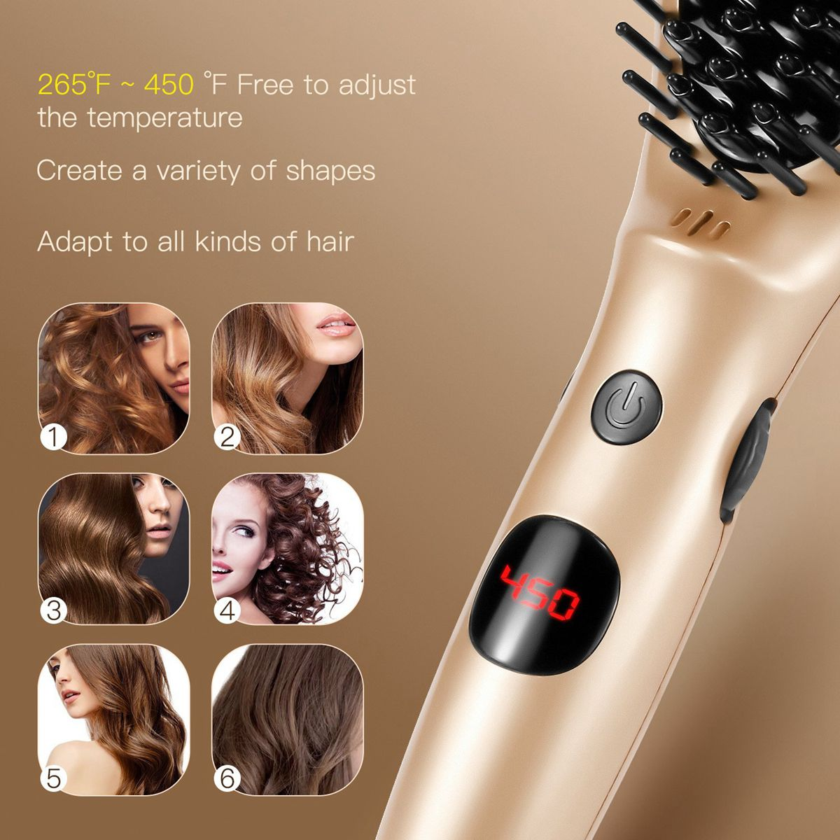 Electric Hair Straightener Comb Auto Lock Temperature Heating Hair Care Styling Straightening Brush With Accessories YF2