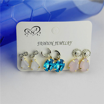Hot new style women jewelry Girl Birthday Party pink ear nail moon sun 6 pairs of /set mixed set of ear ring agent shipping