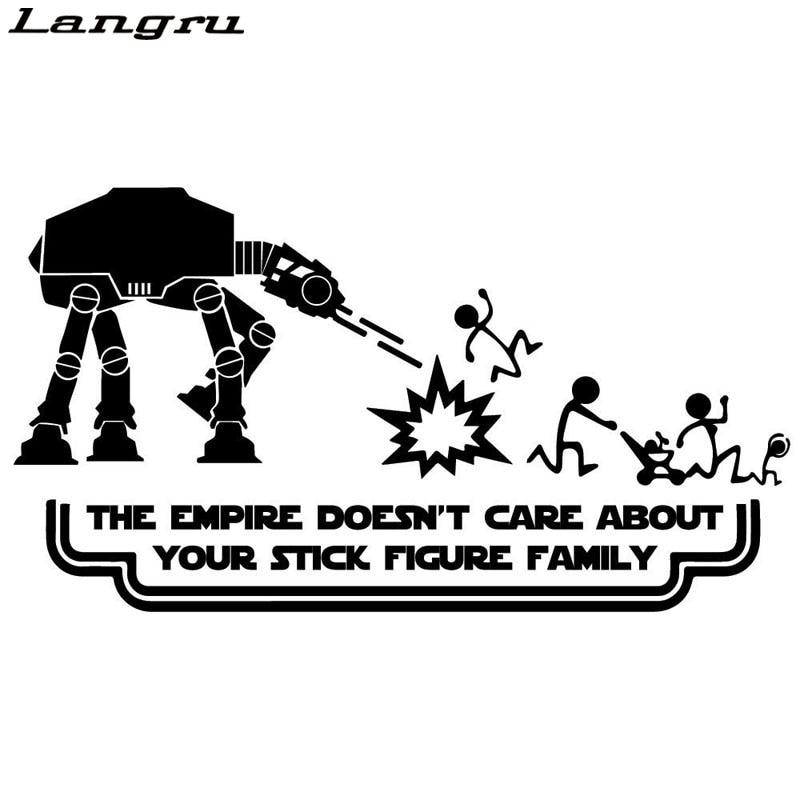 Langru Funny Star Wars Stick Figure Family Car styling Car