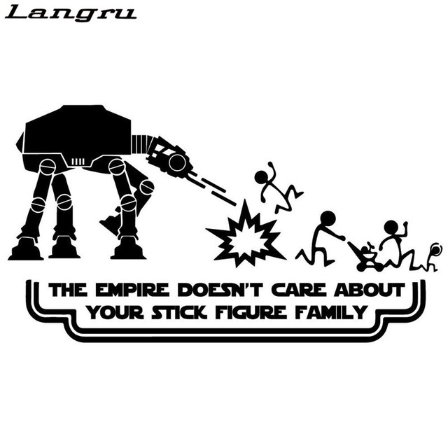 US $2 04 49% OFF|Langru Funny Star Wars Stick Figure Family Car styling Car  Stickers Decals Vinyl Graphics Decals JDM-in Car Stickers from Automobiles