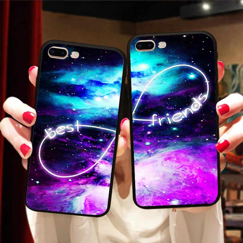 BFF Espace Infinity Couple Couverture Pour Samsung a5 j5 2017 a8 2018 Cas Meilleurs Amis Souple En Silicone Téléphone Fundas Capinha