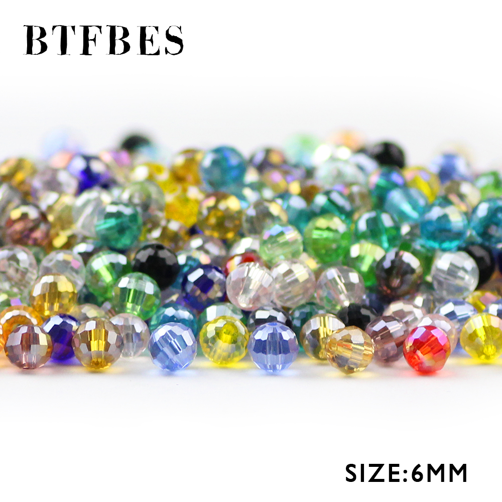BTFBES 96 Faceted Ball Austrian Crystal Beads 6mm 50pcs Glass Round Loose For Jewelry Making Bracelet Necklace Earring DIY