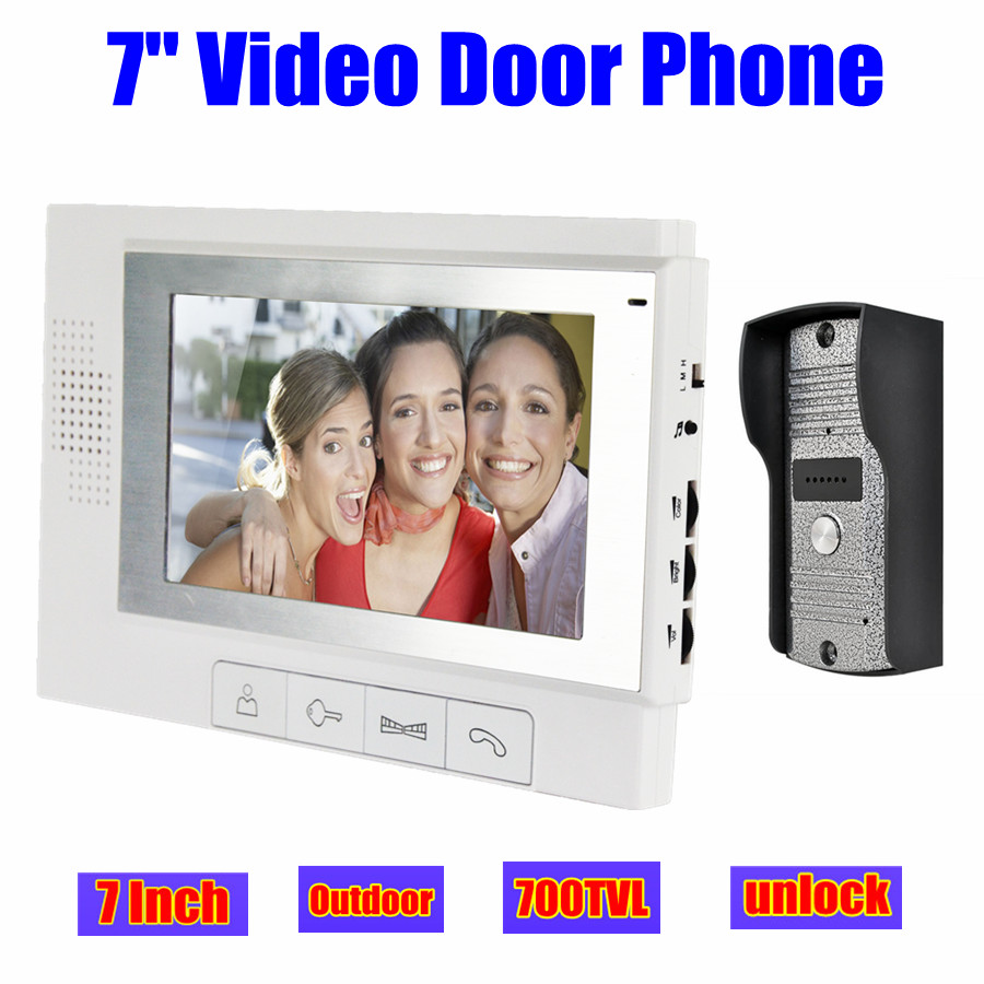 7 Wired Video Door Phone Doorbell Intercom Home Security System LCD Monitor Outdoor door Camera night vision unlock