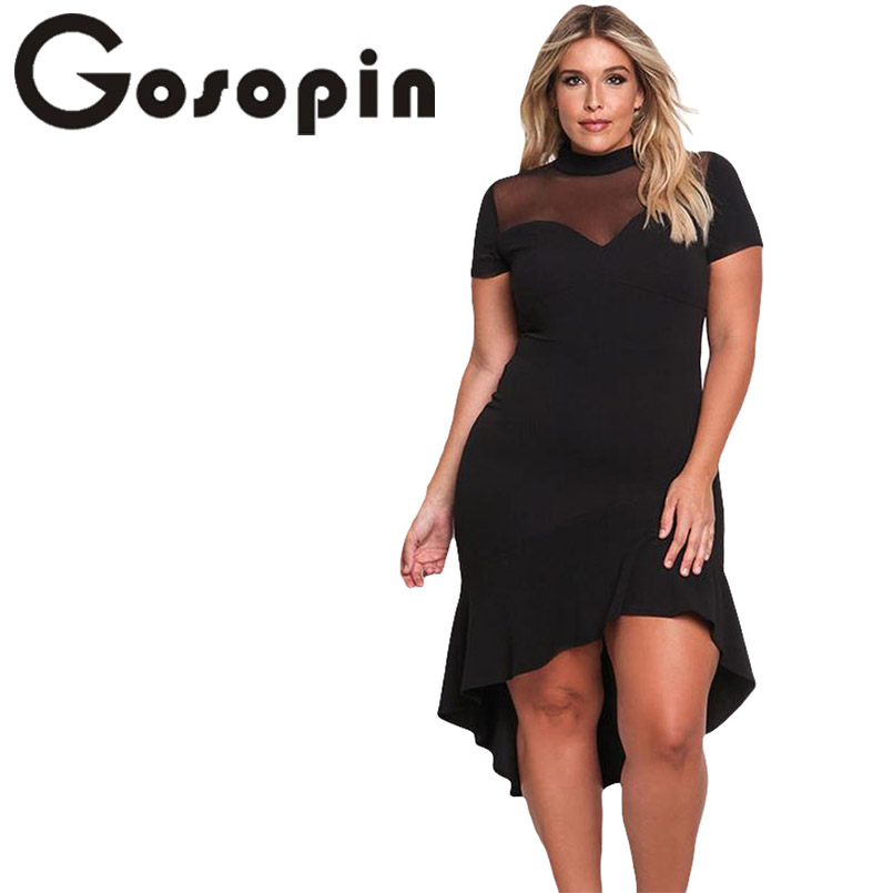 02547c87206a3 Gosopin Summer Dress XXXL Ruffled Work Office Dress Plus Size Black Sexy Club  Dresses Womens Large Sizes Hollow Out Red LC61661