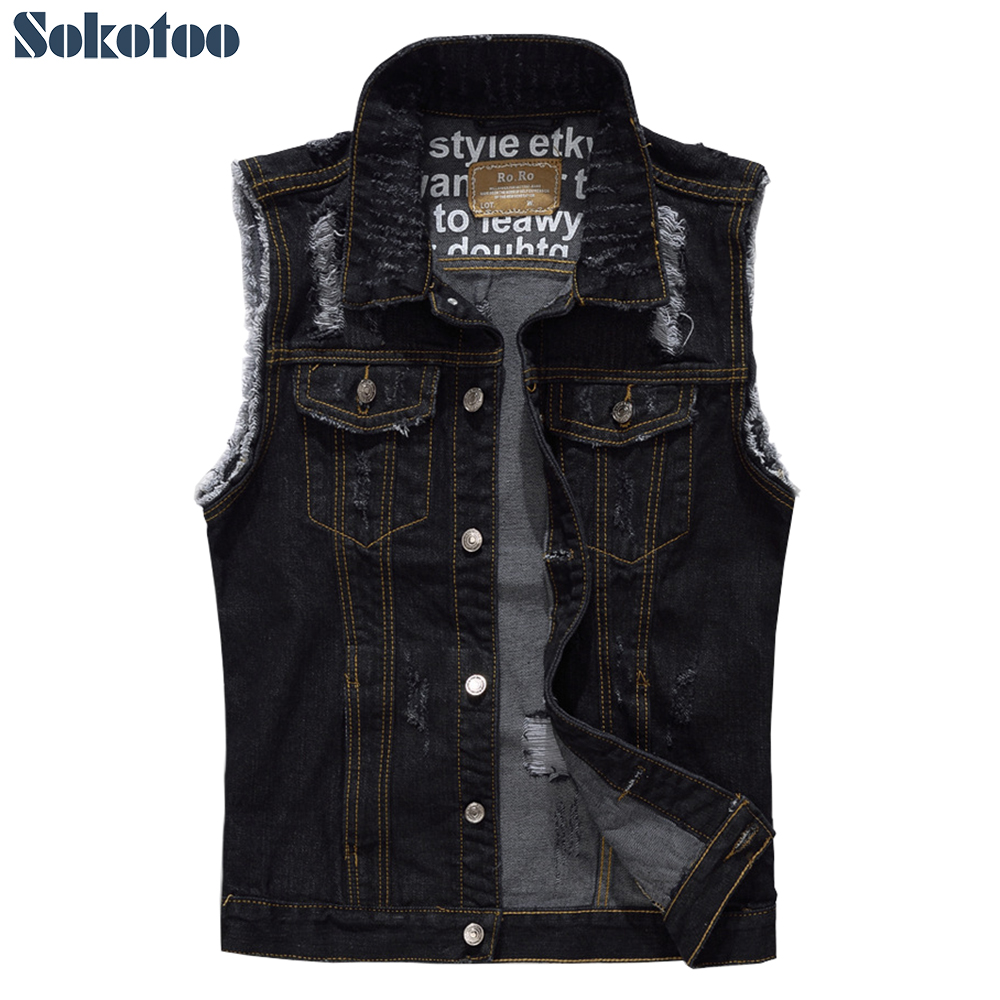 Sokotoo Men's sleeveless ripped black denim vest Plus size holes distressed fringe tank top Waistcoat Men sleeveless hoodie cb5feb1b7314637725a2e7: Black