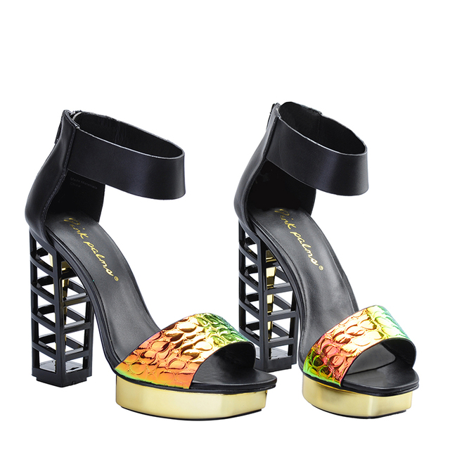 Pink Palms women summer shoes black birdcage heels 5 inch high heels women metallic wedges fretwork heels party dress sandals