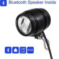 Lumière électrique de bicyclette d'onature avec le klaxon de haut-parleur de Bluetooth lumière avant d'ebike 120 lux DC12V 36V 48V 60V 80V LED lumière d'ebike