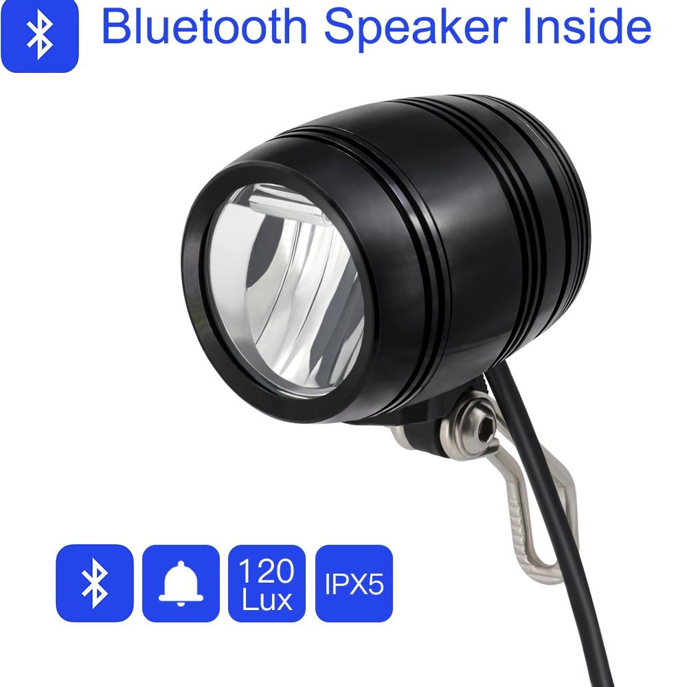 onature electric bicycle light with bluetooth speaker horn ebike front light 120 lux dc6v 36v. Black Bedroom Furniture Sets. Home Design Ideas