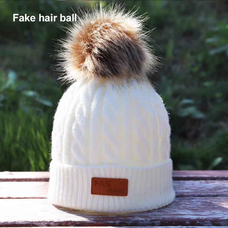 08289334f80 Dropwow Brand skullies beanies for kids fur ball cap winter hats ...