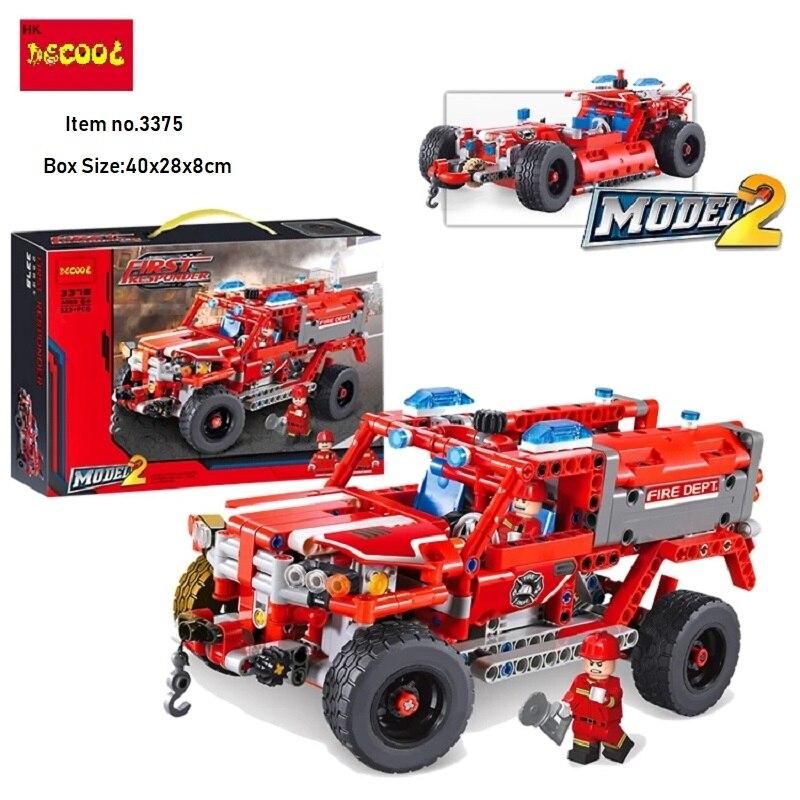 Decool 3375 523pcs City 2 Mode fireman rescue vehicle 911 firefighter building blocks bricks Legoings technic