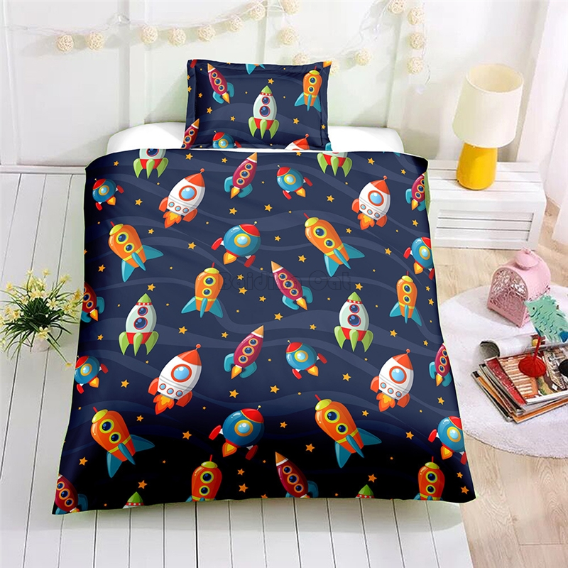Cartoon Space Rocket Bedding Set Adult Kids Duvet Cover Sets EU AU US Twin Full Queen Single Double Size Bed Linens Bedclothes