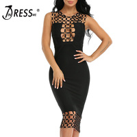 INDRESSME New Bandage Dress 2019 Circle Hollow Out Sleeveless Sexy Bodycon Party Dresses Lady