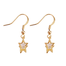2019 Fashion Jewellery Freshwater Pearls Classic Golden Color Copper Zircon Star For Women Drop Earrings 3091