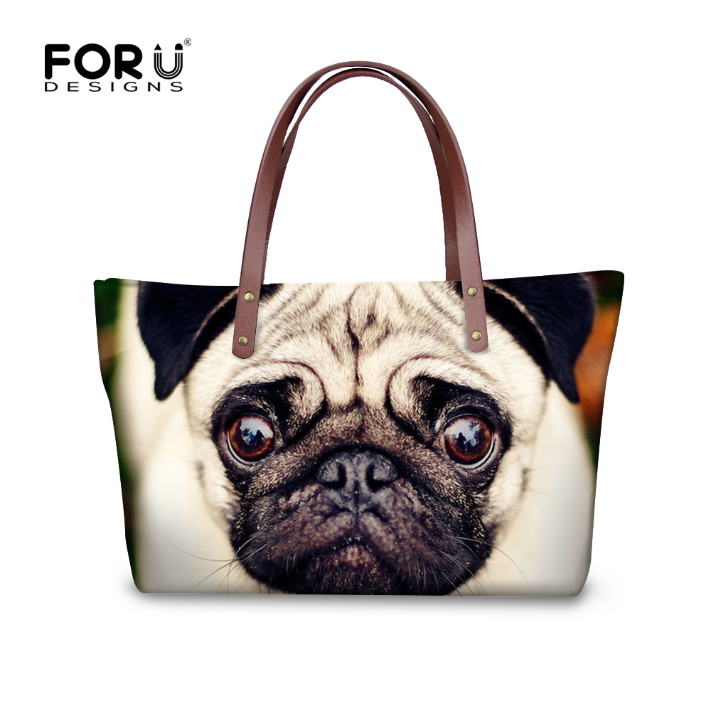 ФОТО Cut Pug Dog Printed Handbags for Women Casual Tote Bags Large Capacity Ladies Shopper Single Bag Zoo Animal Shoulder Beach Bags