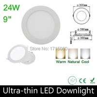 10 pcs/lot Thickness 24W LED panel light 300* 300mm round LED Recessed ceiling light natural white flat lighting lamp Via DHL