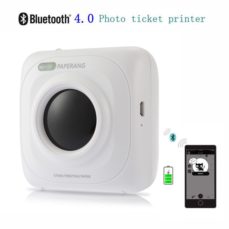 PAPERANG P1 Printer Portable Bluetooth 4.0 Printer Photo Printer Phone Wireless Connection Printer  1000mAh Lithium-ion Batter new high quality canon cp1200 mobile phone photo printer wireless mini household portable color photo printer printing machine