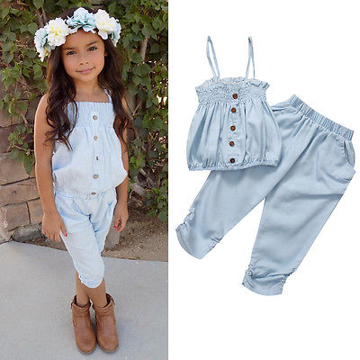 Kid Girls Child Jeans Top T-shirt +Pants Outfit Set Clothes Strap Baby Tops Bottoms Clothing Summer 1 6y baby clothes outfit summer kid girls short sleeve floral t shirt tops cropped pants children fashion suits 2pcs set