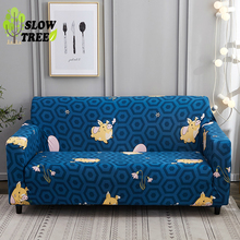 Slow Tree Printed Elastic Sofa Cover  for Living Room Non-slip Couch Cushion Modern Carton 1 Piece for 1/2/3/4 Seat  Polyester