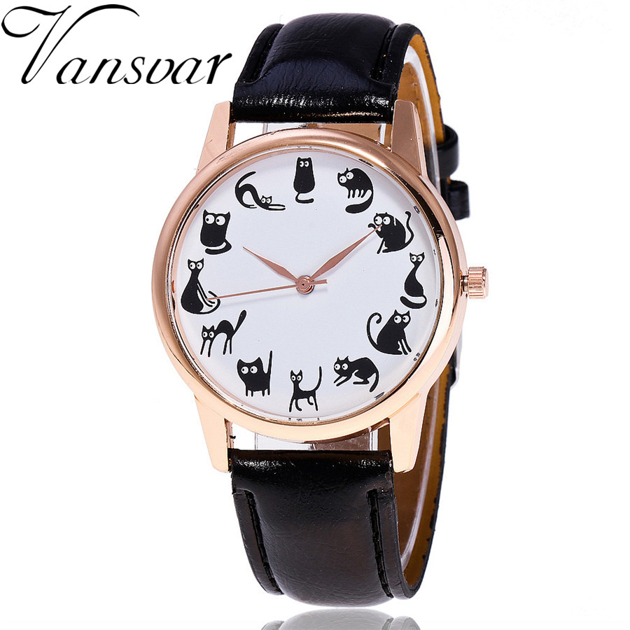 Vansvar Brand Vintage Leather Cute Cat Watch Casual Fashion Ladies Women Quartz Watch Relogio Feminino V48 vansvar brand fashion casual relogio feminino vintage leather women quartz wrist watch gift clock drop shipping 1903