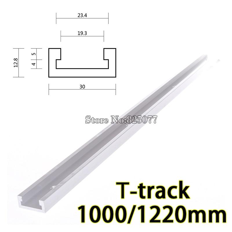 DHL 2PCS 1000mm (40inch) T-track in alluminio standard Mitra Track / Slot per la tabella del router Sega a nastro T-track KF867
