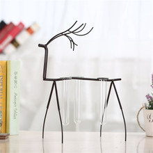 Antique Decoration Iron Artistic Deer with Test Tube Glass Water Nordic Country Decorative Crafts Office Home