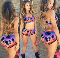 New Women Swimming Tankini Digital Printing Adventure Time Sexy Sport Tops Sporty Swimwear Tankini Swimsuits Sexy Set