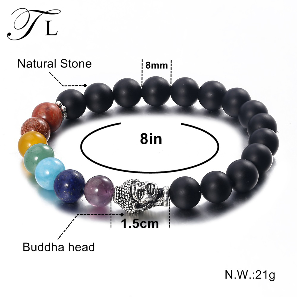 Tl Fashion Seven Chakra Mala Bracelet Black Scrub Natural Stone Meditation For Men And Women Yoga In Charm Bracelets From Jewelry