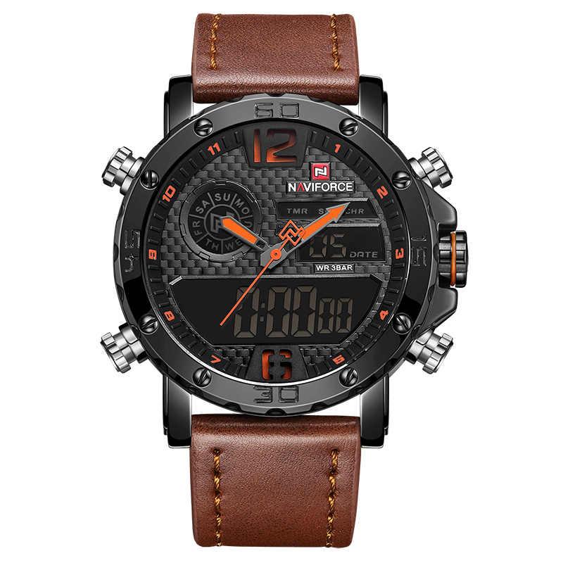 Herren Uhren Zu Luxus Marke Männer Leder Sport Uhren NAVIFORCE männer Quarz LED Digital Uhr Wasserdicht Militär Armbanduhr
