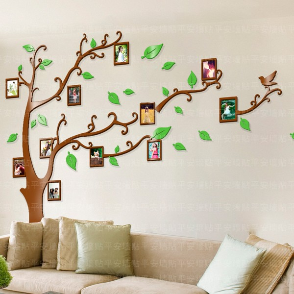 Wholesale ikea style crystal photos frame 3d child room big tree wall sticker wall decor wallpaper