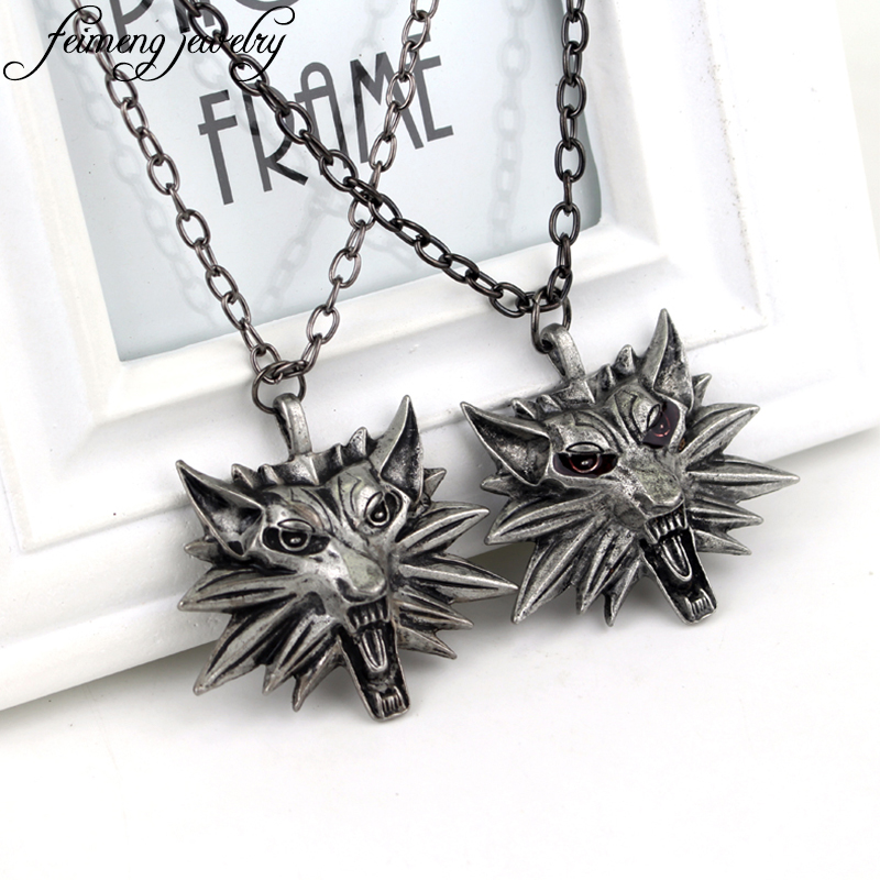 Wizard Witcher 3 Medallion Necklace Wolf Head Pendant Wild Hunt Figure Game Cosplay Jewelry High Quality