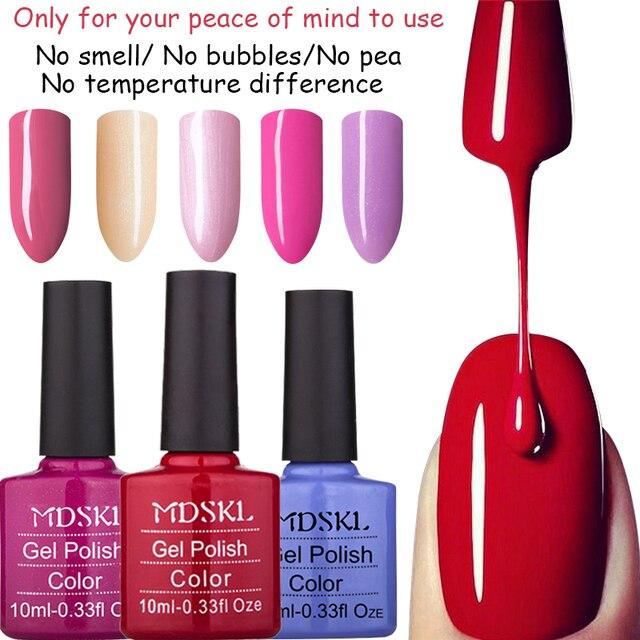 Mdskl 81 Colors Gel Lacquer Uv Lamp Or Led Nail Varnish Nature Fashion 10ml