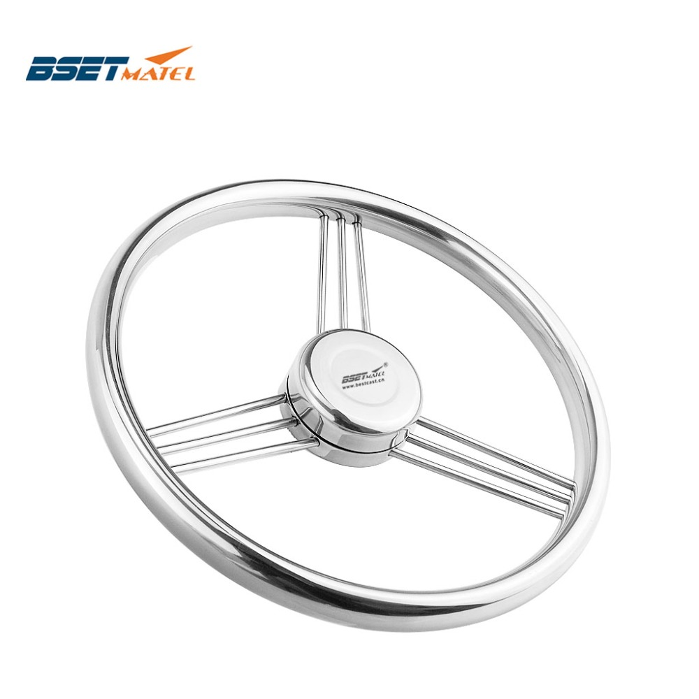 BSET MATEL 13 1 2 342mm Steering Wheel Stainless Steel 316 Marine Grade 3 Spokes 15