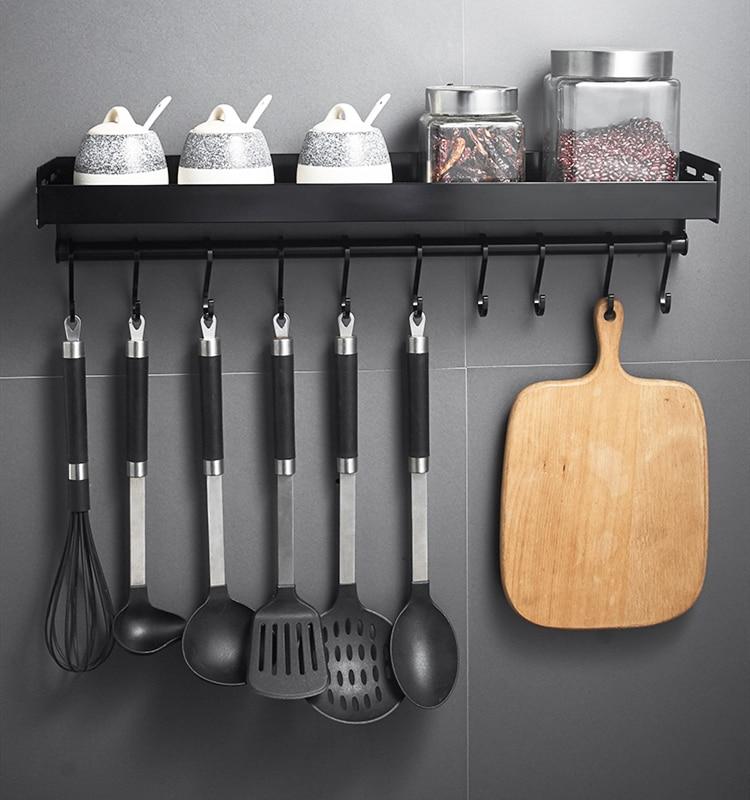 Черный настенный кухонный стеллаж с крючками, простая алюминиевая полка для хранения, кухонные приборы, Полка для специй, кухонная стойка, О...