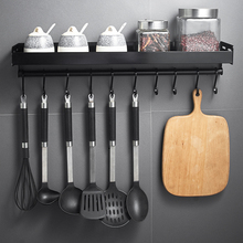 Black Wall Mounted Kitchen Racks with Hooks Space Aluminum S