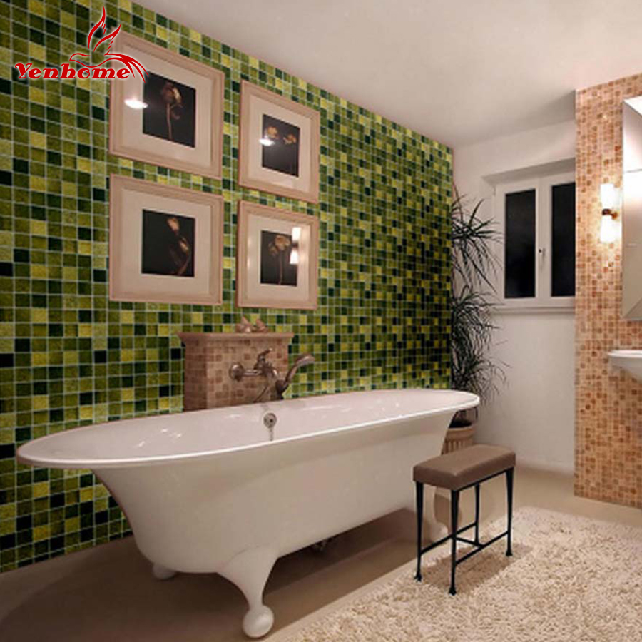 10meters bathroom pvc wallpaper kitchen anti oil stickers for Self adhesive bathroom wallpaper